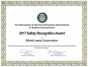 2017 Safety Recognition Certificate